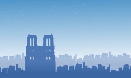 Silhouette of Paris city landscape