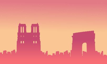 France city skyline background silhouette landscape Illustration
