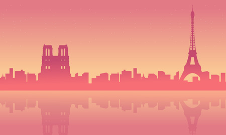 Collection of Paris landscape with reflection silhouettes