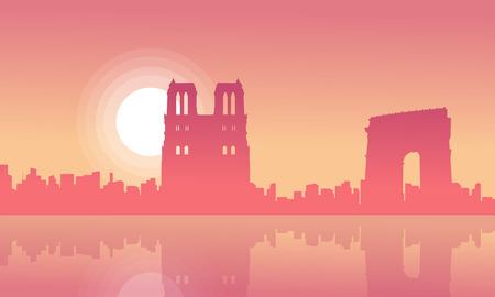 Silhouette of Prais city skyline scenery vector illustration