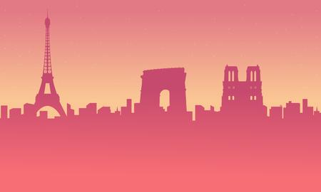 City tour Paris city landscape silhouettes background Illustration