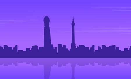 bigben: City building in Londing scenery silhouettes vector illustration Illustration