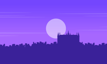 london tower bridge: Silhouette of London building Guidhall scenery vector illustration