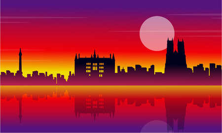 bigben: Silhouette of London city beauty scenery vector illustration Illustration