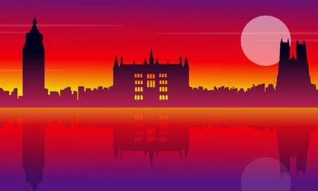 bigben: London city building silhouette style landscape vector illustration