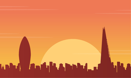 bigben: At sunset London city building landscape vector illustration Illustration