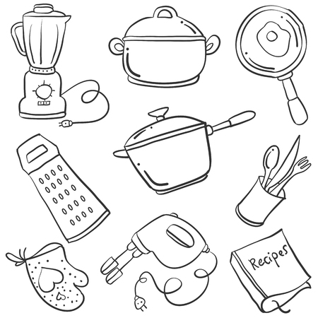 cilp: Doodle of kitchen set collection