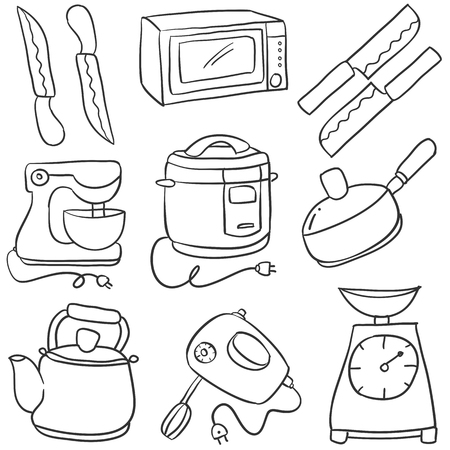 cilp: Graphic illustration of a Doodle of kitchen set style cartoon Illustration