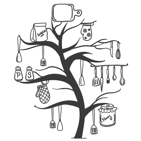 cilp: Vector illustration of kitchen set tree collection Illustration