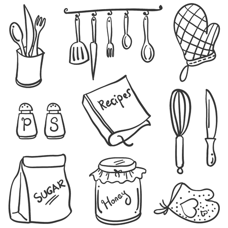 cilp: Kitchen set element of doodle style