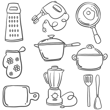 cilp: Graphic illustration of a Kitchen set with doodle style