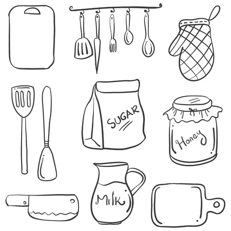 cilp: Hand draw of kitchen set doodles Illustration