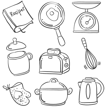 cilp: Illustration kitchen set of doodles