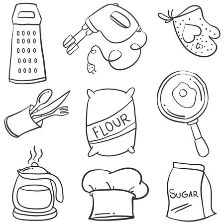 Kitchen Set Hand Draw Style Doodle Vetcor Illustration Royalty Free