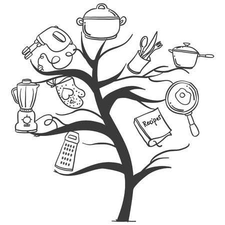 cilp: Kitchen set tree hand draw style vector art