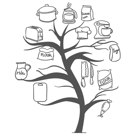 cilp: Tree kitchen set hand draw collection Illustration