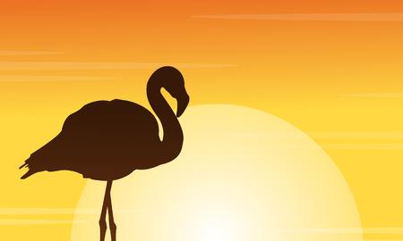 lake sunset: Flamingo at sunset scene silhouettes vector illustration