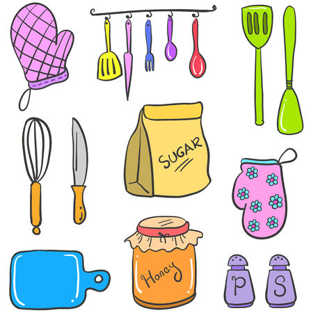 cilp: Doodle of kitchen set colorful vector art