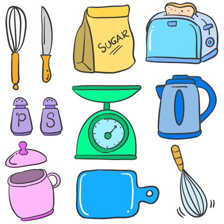 cilp: Kitchen set accessories doodle style vector illustration