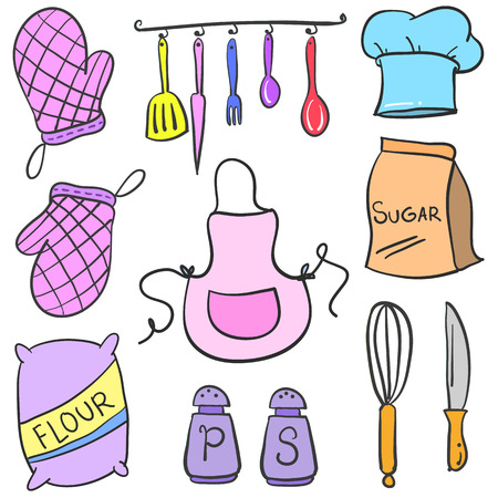 cilp: Doodle kitchen accessories set collection vector illustration