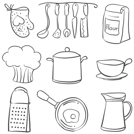 cilp: Kitchen equipment set doodle style
