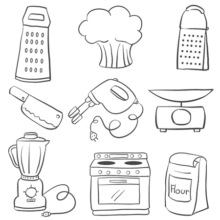 cilp: Doodle of kitchen equipment hand draw Illustration