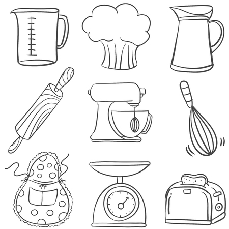 cilp: Equipment kitchen set doodles vector art illustration