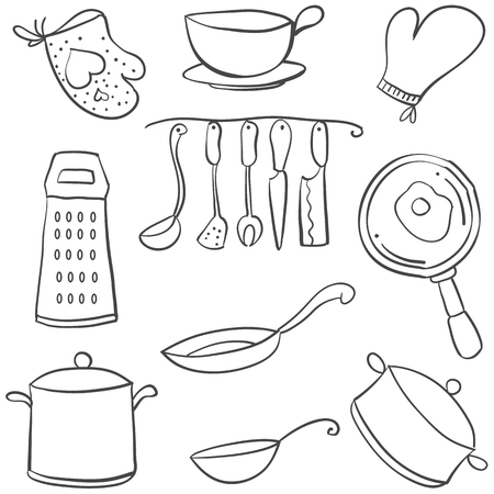 cilp: Doodle of kitchen set various equipment vector illustration Illustration
