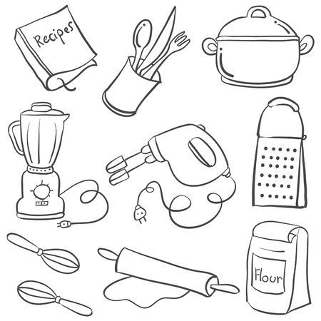 cilp: Equipment kitchen various doodle style Illustration
