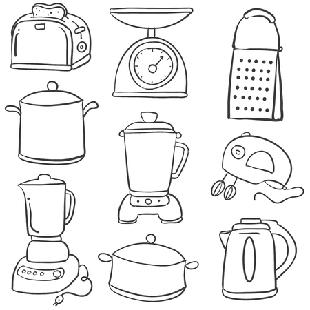 cilp: Doodle of kitchen equipment style