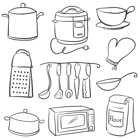 cilp: Hand draw of kitchen equipment doodles Illustration