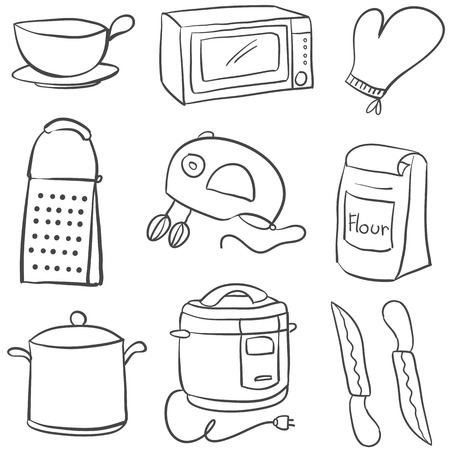 cilp: Doodle of equipment kitchen object Illustration