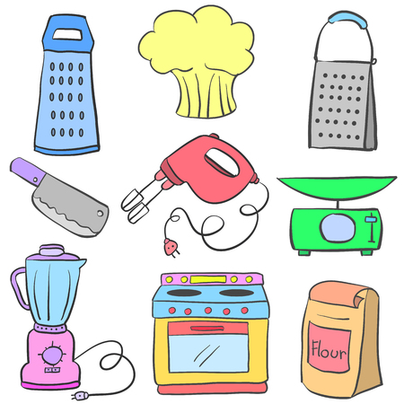cilp: Doodle of kitchen set equipment colorful Illustration