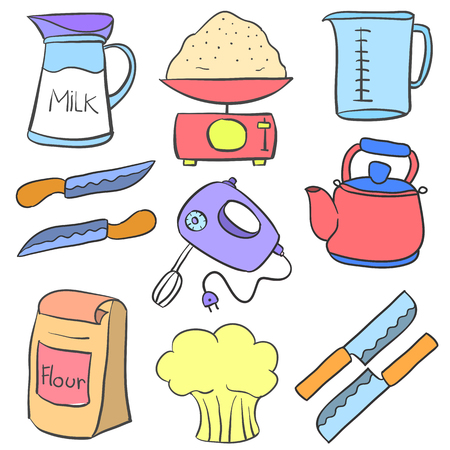 cilp: Collection of equipment kitchen doodles vector art Illustration