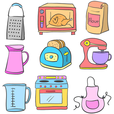 cilp: Doodle of equipment kitchen set