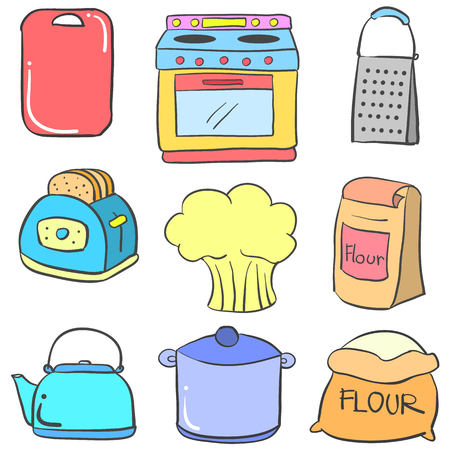 cilp: Doodle of kitchen set style vector art