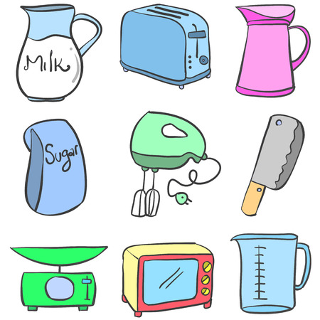 cilp: Doodle of kitchen equipment vector illustration Illustration