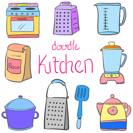 cilp: Doodle kitchen equipment colorful style Illustration