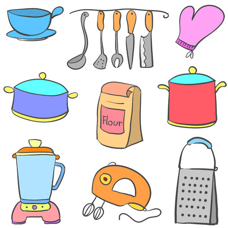 cilp: Doodle kitchen set style colorful vector illustration