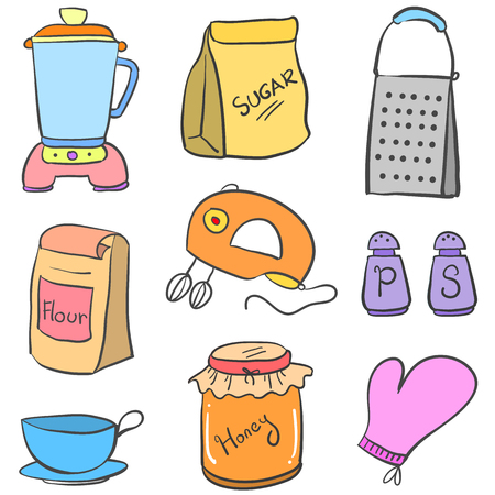 cilp: Doodle of kitchen equipment colorful style vector illustration