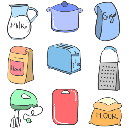 cilp: Collection stock kitchen set colorful doodles