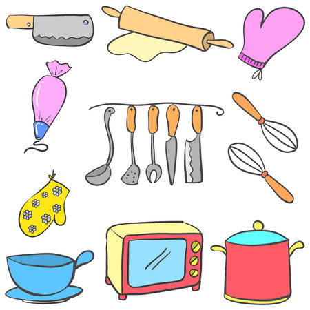 cilp: Equipment kitchen set colorful doodles vector illustration Illustration