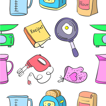 cilp: Doodle of kitchen set colorful style vector art