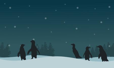 arctic landscape: Landscape penguin on hill silhouettes vector illustration.