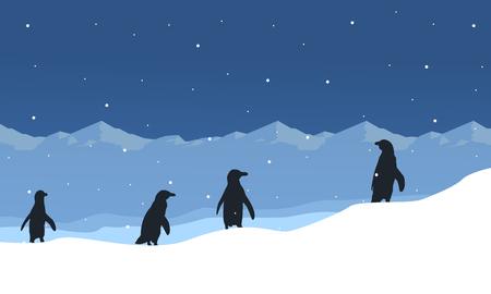 얼음 아름다움 풍경에 펭귄의 실루엣
