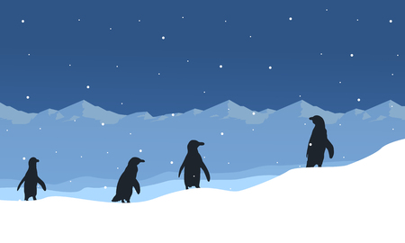 Silhouette of penguin on ice beauty landscape