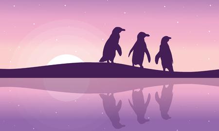 arctic landscape: Penguin on the riverbank silhouette landscape illustration.