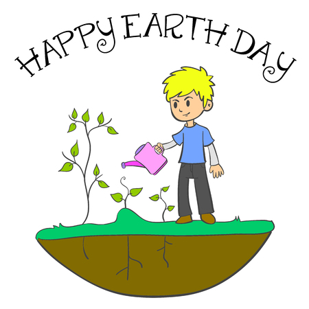 Happy Earth Day with cild and plant