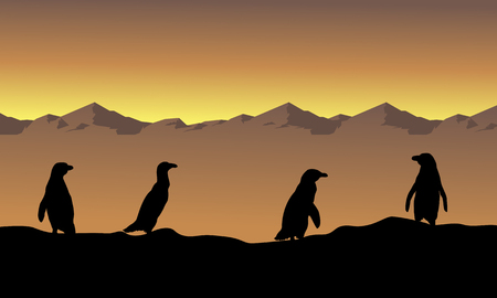 Collection stock penguin scenery silhouettes Illustration