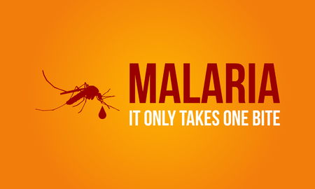 Malaria on orange background style vector illustration.